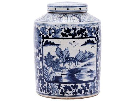 Legend of Asia Blue & White Dynasty Tea Jar Floral Landscape Medallion
