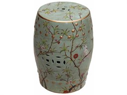 Green Famille Rose Stool with Bird Floral Motif
