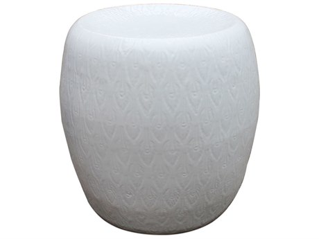 Legend of Asia White Feather Carving Porcelain Garden Stool