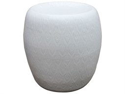 White Feather Carving Porcelain Garden Stool