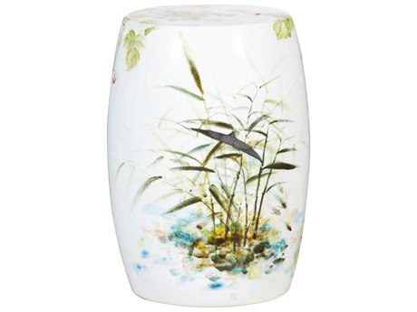 Legend of Asia Feather Reed Grass Porcelain Garden Stool LOA2026