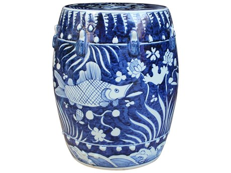 Legend of Asia Blue Fish Lotus Porcelain Garden Stool