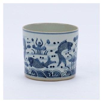 Legend of Asia Blue & White Fish Orchid Pot