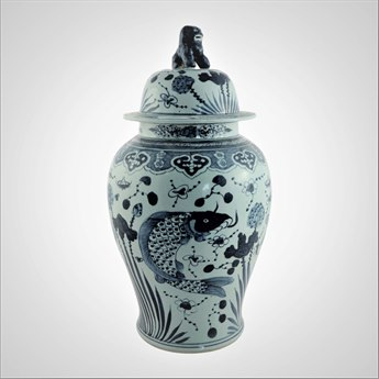 Legend of Asia Blue & White Fish Temple Jar LOA1208