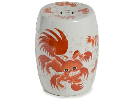 Legend of Asia Red Foo Dog Porcelain Garden Stool