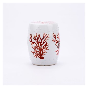 Legend of Asia White Garden Stool with Red Coral