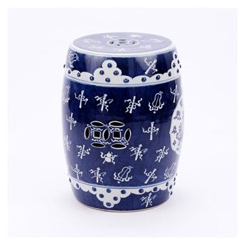Legend of Asia Blue & White Ancient Pattern Garden Stool
