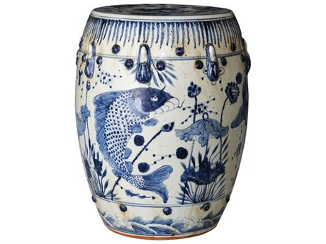 Legend of Asia Blue & White Small Ancestor Fish Porcelain Garden Stool