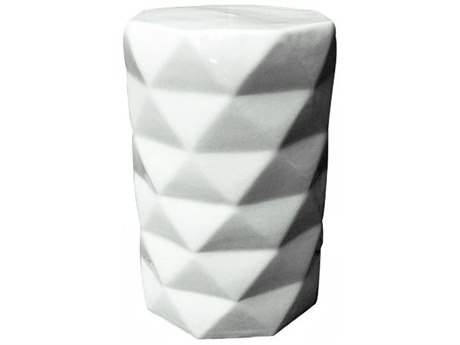 Legend of Asia White Porcelain Octagonal Diamond Garden Stool