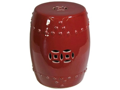 Legend of Asia Oxblood Red Garden Stool LOA1501