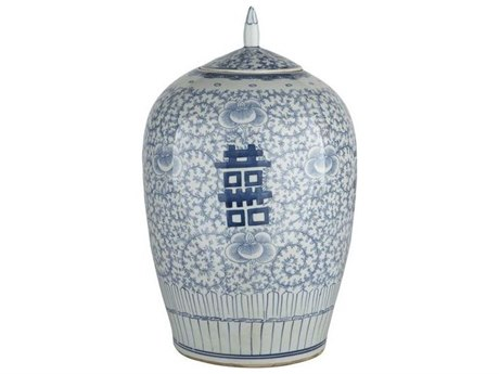 Legend of Asia Blue & White Floral Double Happiness Ginger Jar LOA1580