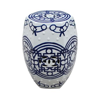Legend of Asia Blue & White Pattern of Lines Hexagonal Stool