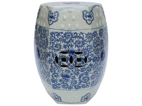 Legend of Asia Blue & White Hexagonal Lotus Stool