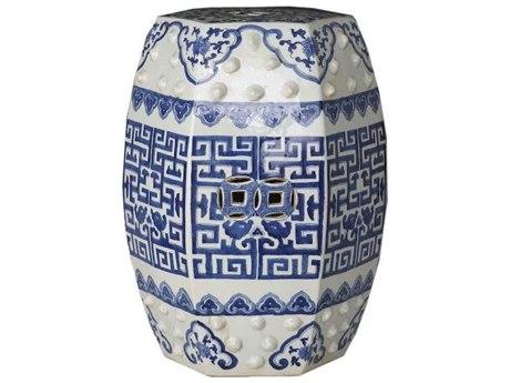 Legend of Asia Blue & White Hexagonal Geometric Garden Stool