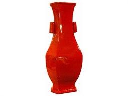 Cinnabar Red Wide Lipped Hexagonal Porcelain Vase