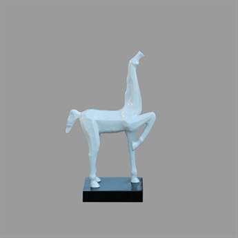 Legend of Asia White Small Horse Hoof Up Statue With Black Base