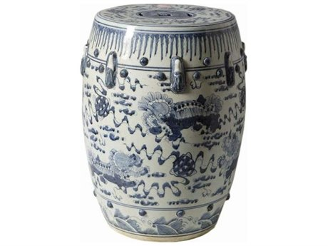 Legend of Asia Blue & White Garden Stool with Lion Motif