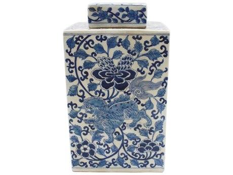 Legend of Asia Blue & White Lion Floral Square Tea Porcelain Jar