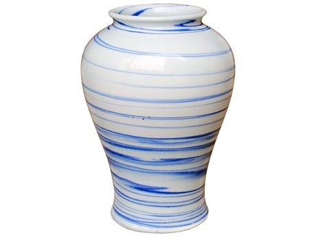 Legend of Asia Blue & White Marblized Porcelain Open Mouth Jar