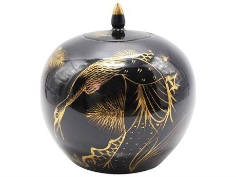 Legend of Asia Black Melon Porcelain Jar With Gilt Pine & Crane