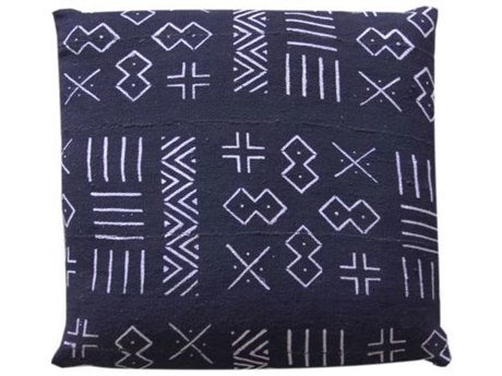 Legend of Asia Black 18'' Square Zebra Symbols Mudcloth Pillow LOAP041A