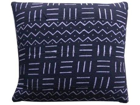 Legend of Asia Black 18'' Square Triple Lines Mudcloth Pillow LOAP042A