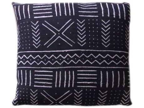 Legend of Asia Black 20'' Square Five Line & Cross Mudcloth Pillow