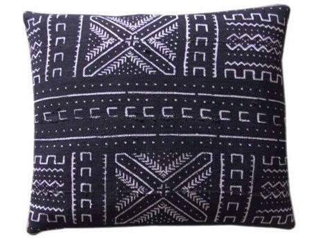 Legend of Asia Black 20'' Square Snowflake Mudcloth Pillow