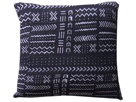 Legend of Asia Black 20'' Square Matrix Symbols Mudcloth Pillow LOAP045B