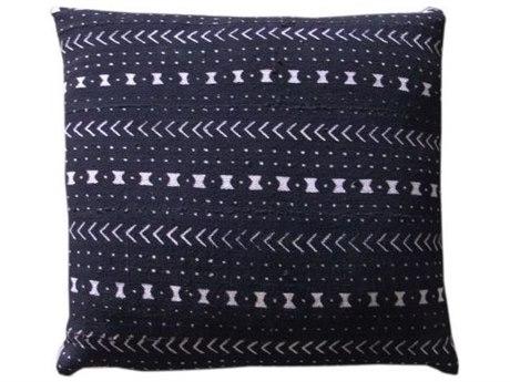 Legend of Asia Black 20'' Square Fishbones Mudcloth Pillow