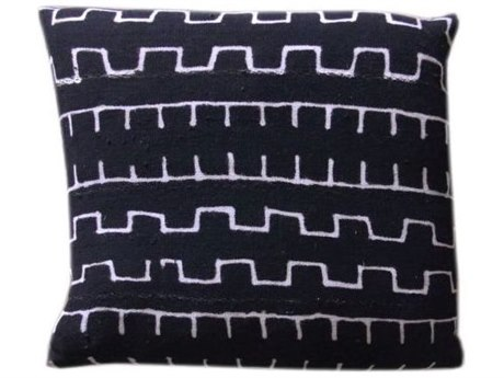 Legend of Asia Black 20'' Square Single Wall & Saw Mudcloth Pillow LOAP047B