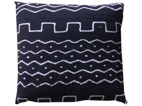 Legend of Asia Black 20'' Square Wall & River Mudcloth Pillow