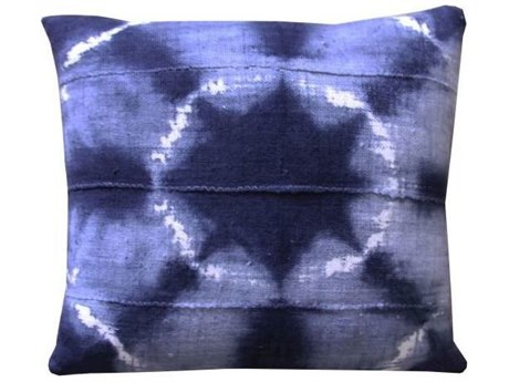Legend of Asia Washed Indigo 18'' Square Star Washed Mudcloth Pillow LOAP061A