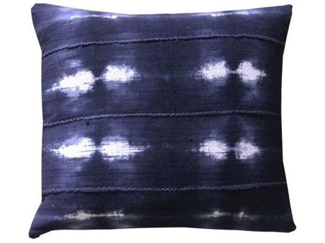 Legend of Asia Washed Indigo 18'' Square Current Washed Mudcloth Pillow LOAP062A