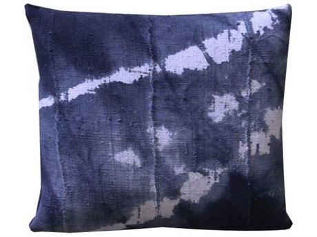 Legend of Asia Washed Indigo 20'' Square Splash Washed Mudcloth Pillow LOAP064B
