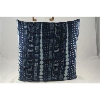 Legend of Asia Vintage Indigo 18'' Square Four Lines & Symbols Vintage Mudcloth Pillow LOAP082A