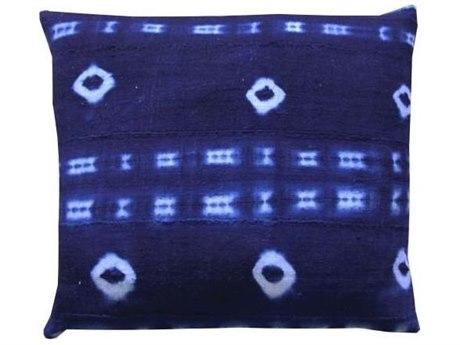 Legend of Asia Vintage Indigo 18'' Square Holes Vintage Mudcloth Pillow LOAP083A