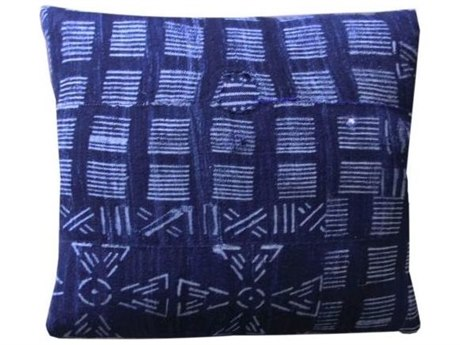 Legend of Asia Vintage Indigo 18'' Square Lines & Pinwheels Vintage Mudcloth Pillow LOAP084A
