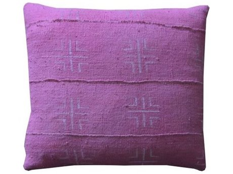 Legend of Asia Pink 18'' Square Crossroads Mudcloth Pillow LOAP092A