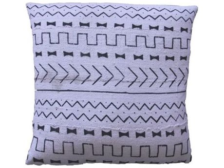Legend of Asia White 20'' Square Candy Wall Mudcloth Pillow