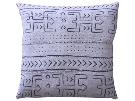 Legend of Asia White 20'' Square Tribal Hunter Mudcloth Pillow