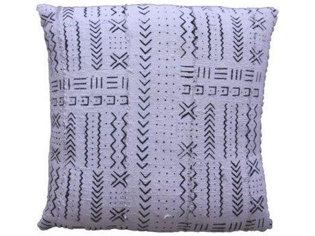Legend of Asia White 20'' Square Matrix Symbols Mudcloth Pillow