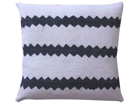 Legend of Asia White 18'' Square Zig Zag Mudcloth Pillow LOAP009A