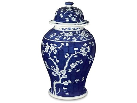 Legend of Asia Blue & White Plum Tree Temple Jar LOA1757