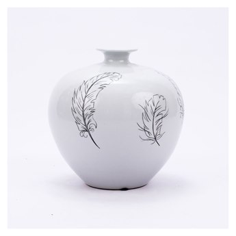 Legend of Asia White & Black Pomegranate Vase With Feathers