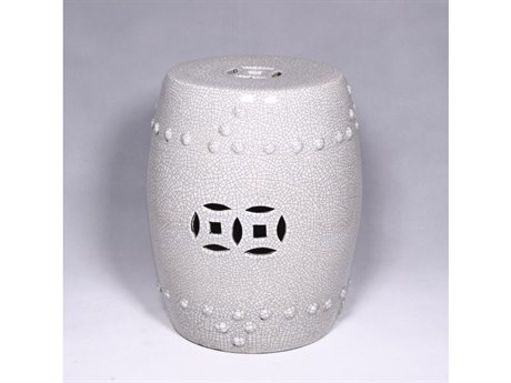 Legend of Asia Off White Crackle Porcelain Garden Stool