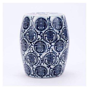 Legend of Asia Blue & White Longevity Porcelain Garden Stool