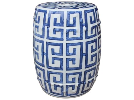 Legend of Asia Blue & White Greek Key Porcelain Garden Stool