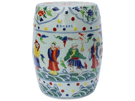 Legend of Asia Multi Colored Porcelain Garden Eight Immortals Stool