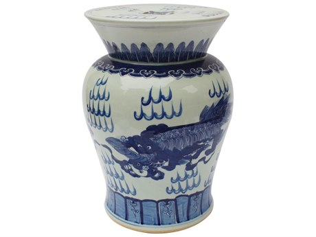 Legend of Asia Blue & White Lion Motif Drum Porcelain Garden Stool
